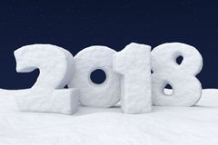 New Year 2018 snow text under night sky with stars. New Year 2018 sign text written with numbers made of snow on snowy field at night under cold north clear Royalty Free Stock Photography