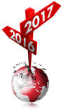 New Year 2016 2017 - Sign with Two Arrows. New Year 2016 2017 - 3D illustration of a crossing sign with two arrows, clock and earth globe. Isolated on white Stock Photography