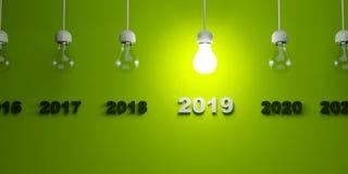 2019 New Year sign under light bulbs. 3D illustration royalty free illustration