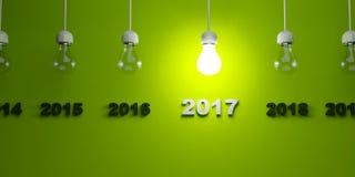 2017 New Year sign under  light bulbs Stock Photos