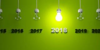 2018 New Year sign under  light bulbs Stock Photo