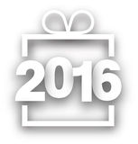 2016 New Year sign. 2016 New Year white sign. Vector paper illustration Royalty Free Stock Photography
