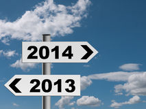 New year signpost background - future direction 2014 Stock Photo