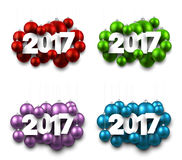 2017 New Year signs set. 2017 New Year signs set with Christmas balls. Vector illustration Stock Photography