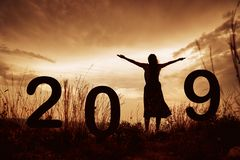 2019 New Year silhouette of a girl with hands raised during gold stock photo
