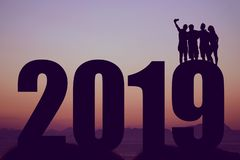 New year 2019 silhouette with group taking a selfie royalty free stock photos