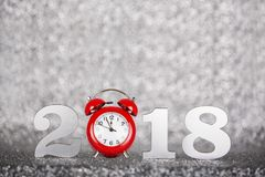 New Year 2018 on Silver Background with Red Hours royalty free stock photos