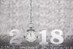 New Year 2018 on Silver Background royalty free stock photo
