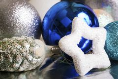 New year silver and blue decoration. On briliance background. Top view Royalty Free Stock Image