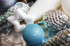 New year silver and blue decoration. On briliance background. Top view Stock Photo