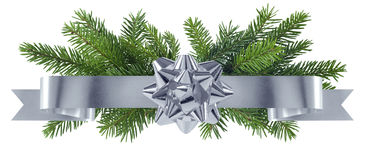 New year silver decoration with bow Stock Photos