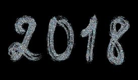 2018 New Year. Silver lettering with bright sparkles on black ba. Ckground. Vector Stock Photo