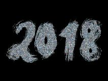 2018 New Year. Silver lettering with bright sparkles on black background. Vector. Illustration Royalty Free Stock Photo