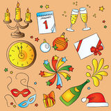 New Year  Sketch Set Royalty Free Stock Photography