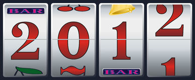 New year in slot machine. New year 2012 in slot machine Royalty Free Stock Photography