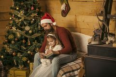 New year small girl and man, fairytale. stock photography