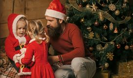 New year small girl and man, fairytale. royalty free stock photos