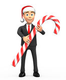 New year smiling businessman candy cane Royalty Free Stock Photo