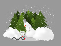 New Year snake. Vector illustration of a snowman meets a snake as a symbol of 2013 year Royalty Free Stock Image