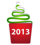New Year snake. Like Christmas tree creeping from a pocket. Vector illustration stock illustration