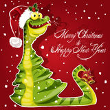 New Year Snake ate a Christmas tree banner on red. Background royalty free illustration