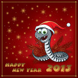 New Year Snake. Greeting Card. Stock Photography