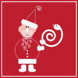 New Year of the Snake. Illustration of Santa Claus with the snake on the red background Royalty Free Stock Image