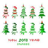 New year snakes. Snake has twisted a firtree Stock Images