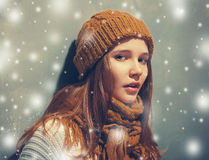 New Year snow holiday young beautiful hipster woman portrait in glasses and knitted clothes Royalty Free Stock Images