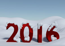 New Year 2016 with snow. Winter landscape with red 2016 and snow Royalty Free Stock Photo