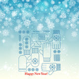 New Year snowflake retro background vector Stock Photography