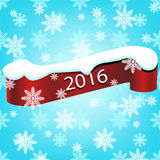 New Year 2016 snowflakes background with realistic curved. Happy New Year 2016 snowflakes background with realistic curved ribbon eps 10 Stock Photo