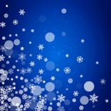 New Year snowflakes on blue background. With sparkles. Winter theme. Christmas and New Year snowflakes falling. For season sales, special offer, banners, cards Stock Photo