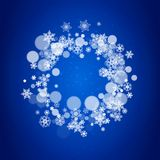New Year snowflakes on blue background. With sparkles. Winter theme. Christmas and New Year snowflakes falling. For season sales, special offer, banners, cards Royalty Free Stock Photos