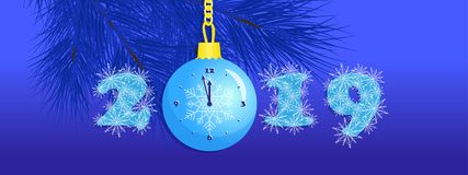 New Year 2019, snowflakes in numbers, Christmas ball clock stock illustration