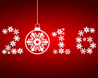 New Year 2016 with snowflakes on a red background Stock Photos