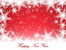New Year snowflakes and snowdrift. New Year snowflakes and snowdrift on red background. Vector illustration Stock Photos