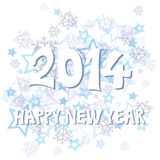 New Year 2014. With snowflakes and stars illustration Stock Image