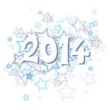 New Year 2014. With snowflakes and stars illustration Royalty Free Stock Photo