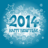New Year 2014. With snowflakes and stars illustration Royalty Free Stock Image
