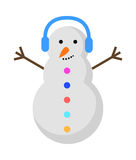 New Year Snowman with Blue Earphones on Head. Stock Photography