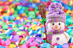 New Year 2015. Snowman with broom on serpentine Royalty Free Stock Photography