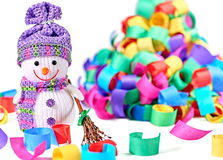 New Year 2015. Snowman with broom and serpentine Royalty Free Stock Photo