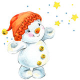 New year snowman and Christmas decoration. watercolor vector illustration