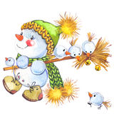 New year  snowman. and Christmas decoration.  watercolor illustration Stock Photography