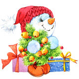 New year  snowman. and Christmas decoration.  watercolor illustration Royalty Free Stock Photography