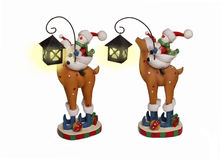 New Year snowman couple riding deer Royalty Free Stock Images