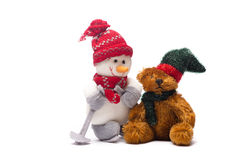 New year snowman decorations. New year snowman and teddy bear decorations Royalty Free Stock Photo