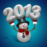 New year snowman greeting. Snowman holding year number isolated on blue Stock Illustration