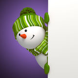 New year snowman greeting banner Stock Photo